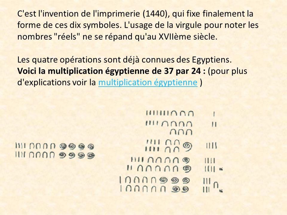 C est l invention de l imprimerie (1440), qui fixe finalement la forme de ces dix symboles.