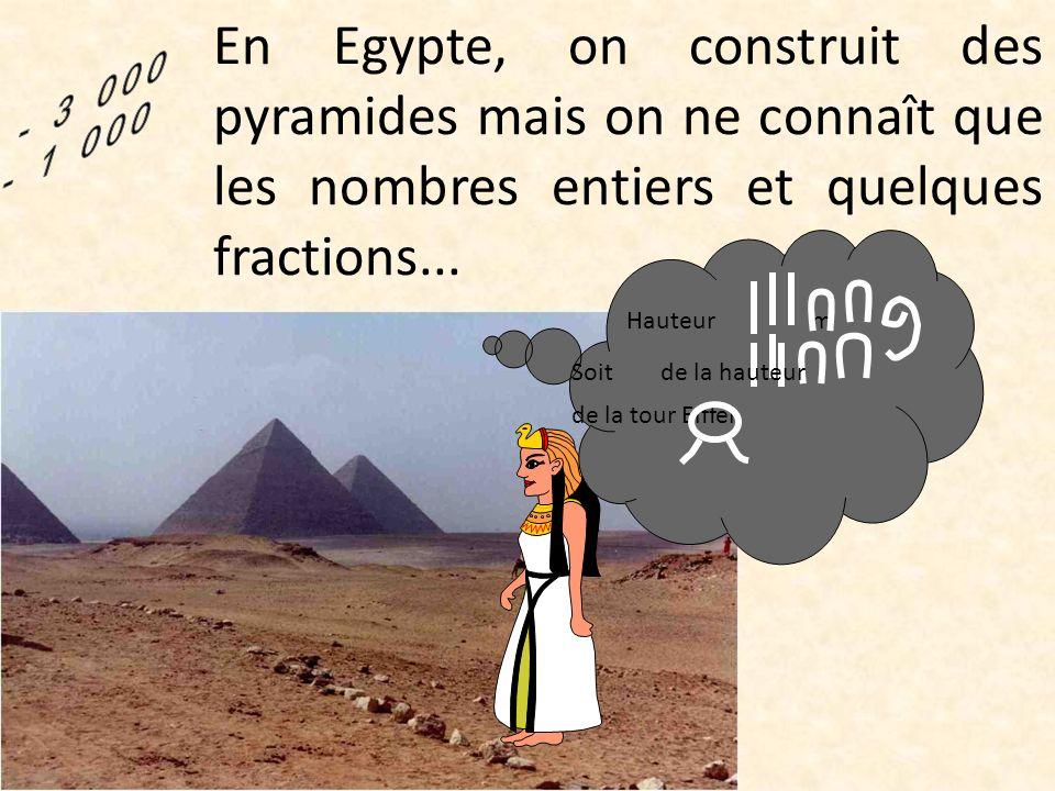 En Egypte, on construit des pyramides mais on ne connaît que les nombres entiers et quelques fractions...