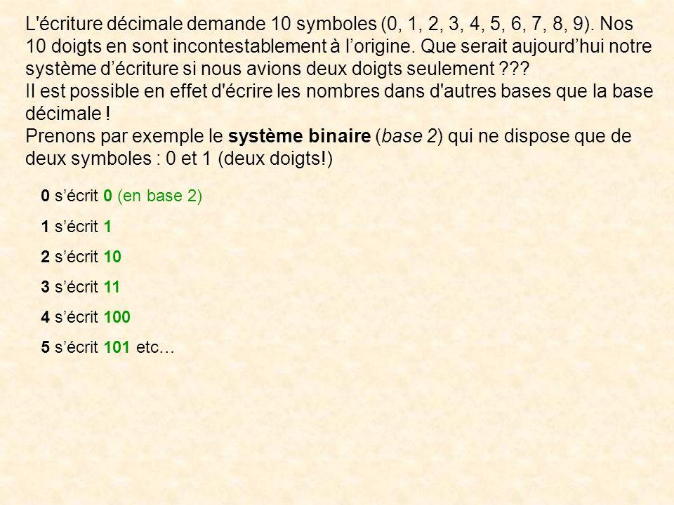 L écriture décimale demande 10 symboles (0, 1, 2, 3, 4, 5, 6, 7, 8, 9)