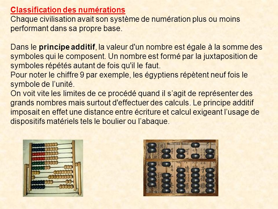 Classification des numérations