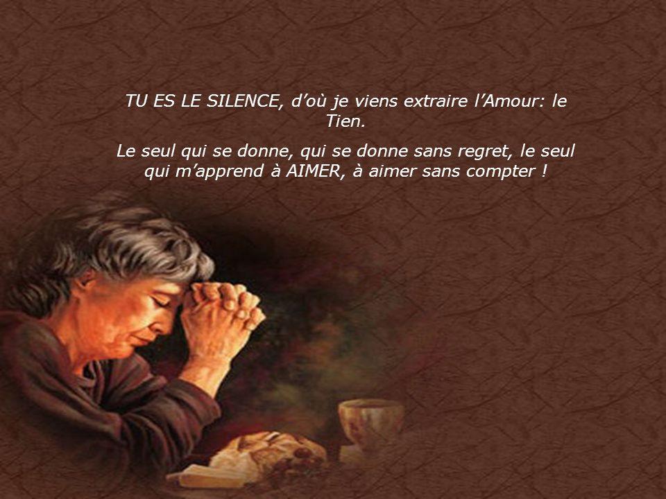 TU ES LE SILENCE, d'où je viens extraire l'Amour: le Tien.