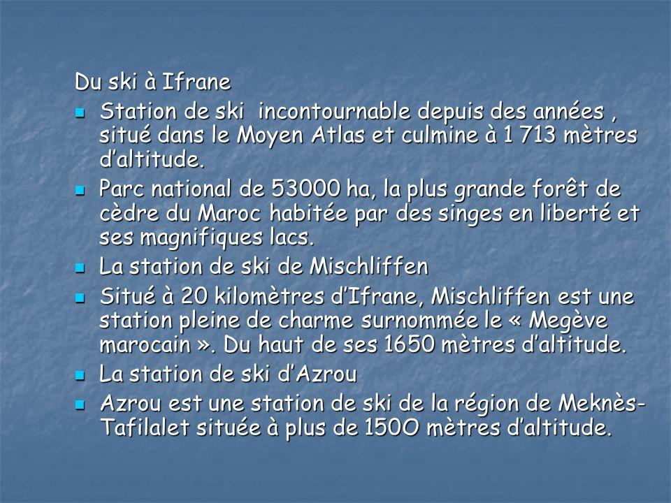 Du ski à Ifrane Station de ski incontournable depuis des années , situé dans le Moyen Atlas et culmine à 1 713 mètres d'altitude.