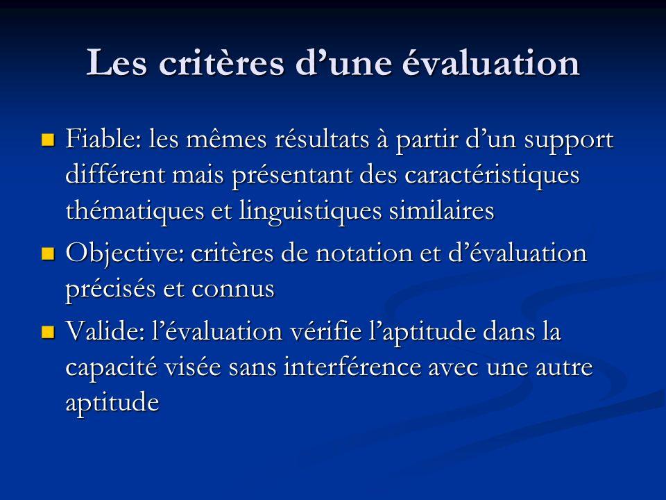 Les critères d'une évaluation