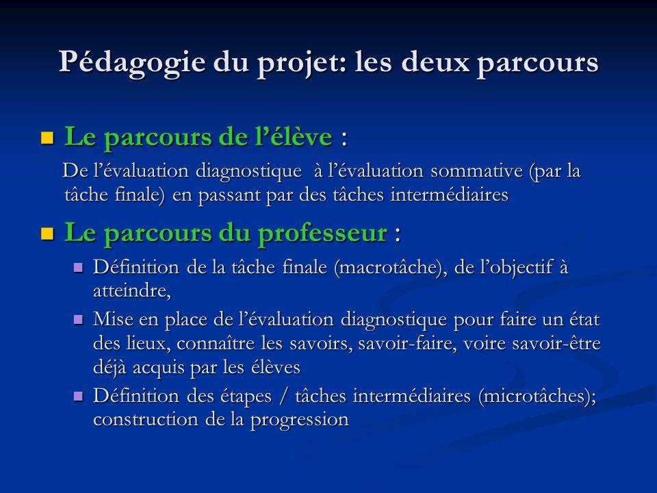 Pédagogie du projet: les deux parcours