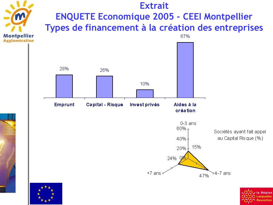 Extrait ENQUETE Economique 2005 - CEEI Montpellier Types de financement à la création des entreprises