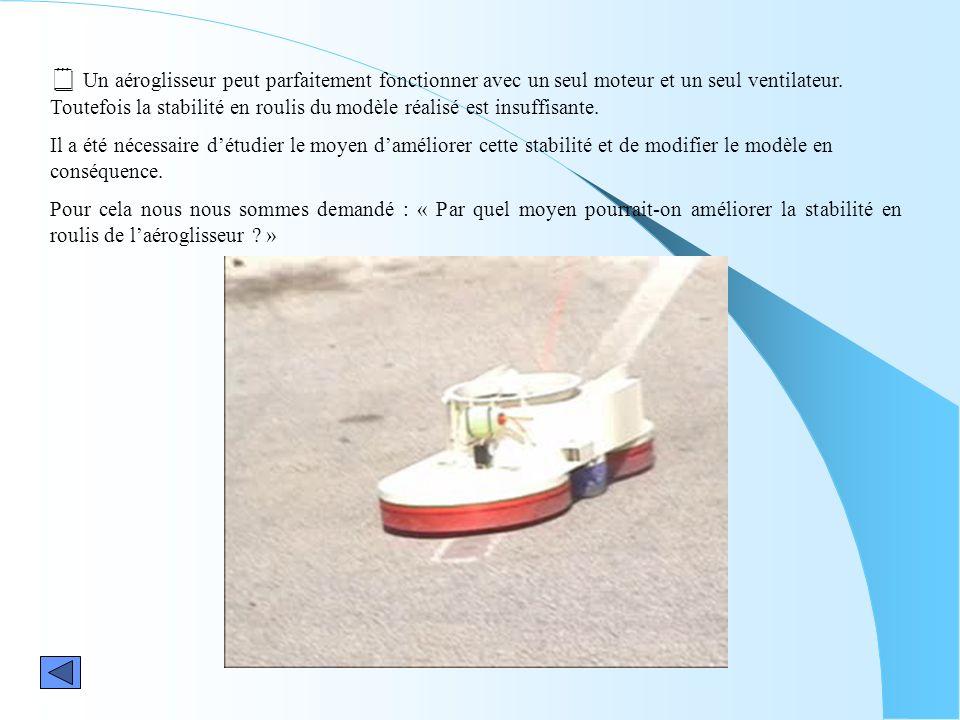  Un aéroglisseur peut parfaitement fonctionner avec un seul moteur et un seul ventilateur. Toutefois la stabilité en roulis du modèle réalisé est insuffisante.