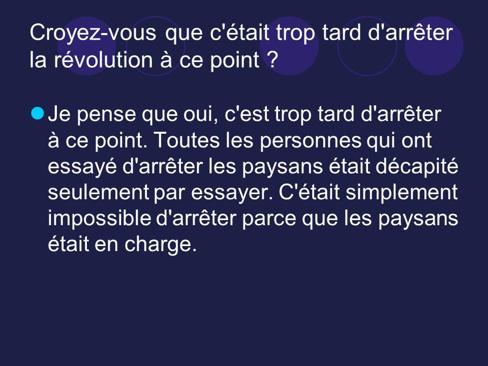 Croyez-vous que c était trop tard d arrêter la révolution à ce point