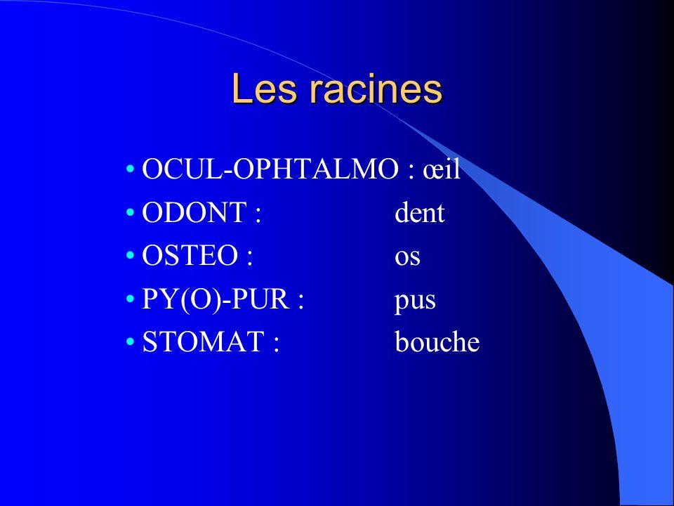 Les racines OCUL-OPHTALMO : œil ODONT : dent OSTEO : os