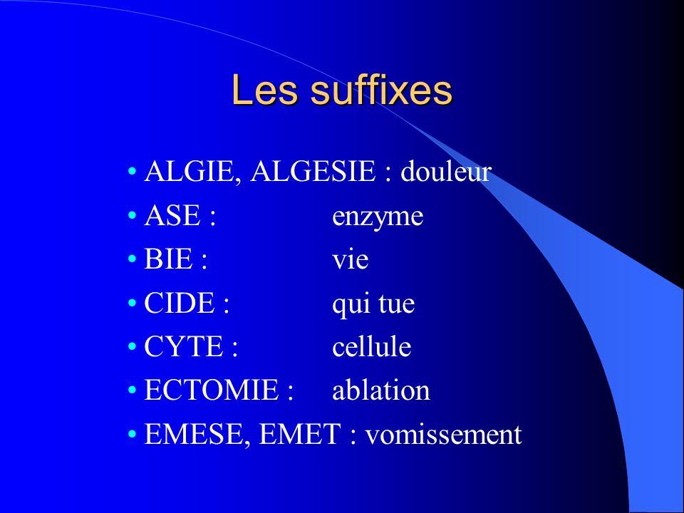 Les suffixes ALGIE, ALGESIE : douleur ASE : enzyme BIE : vie
