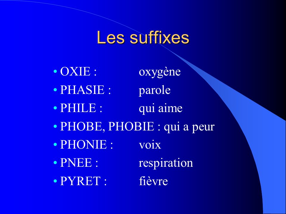 Les suffixes OXIE : oxygène PHASIE : parole PHILE : qui aime