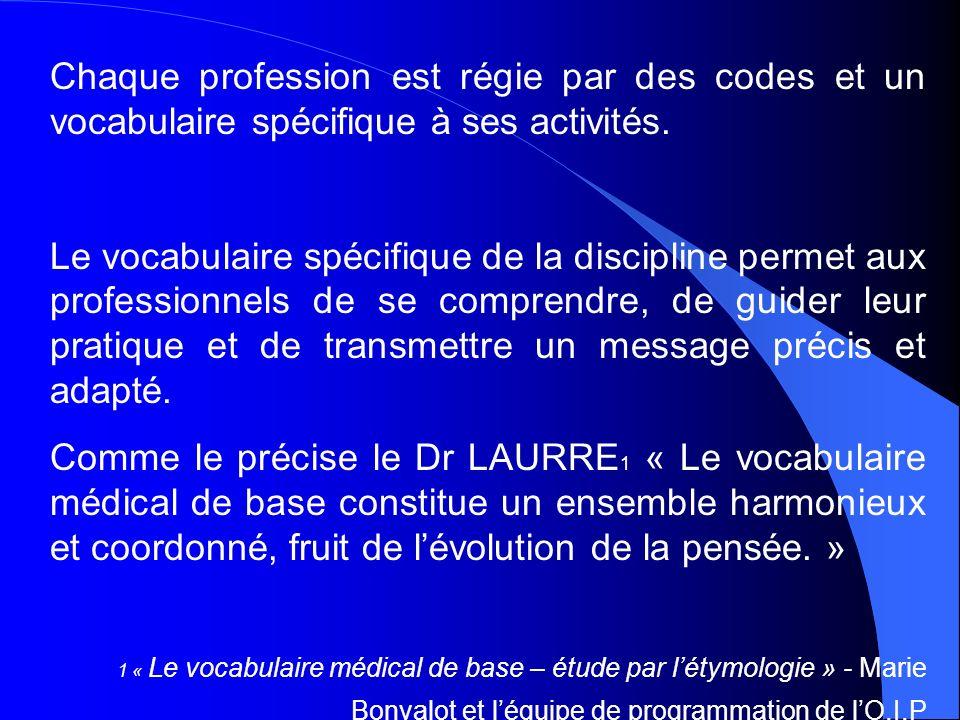 Chaque profession est régie par des codes et un vocabulaire spécifique à ses activités.