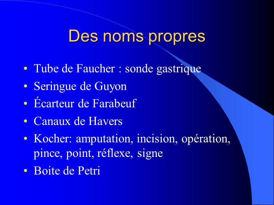 Des noms propres Tube de Faucher : sonde gastrique Seringue de Guyon
