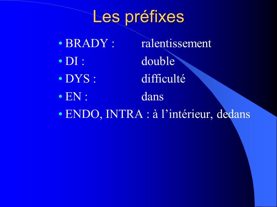 Les préfixes BRADY : ralentissement DI : double DYS : difficulté
