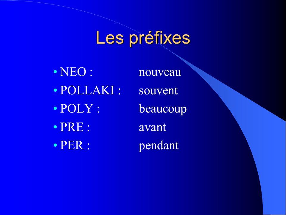 Les préfixes NEO : nouveau POLLAKI : souvent POLY : beaucoup