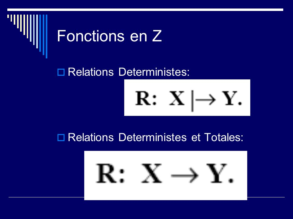 Fonctions en Z Relations Deterministes: