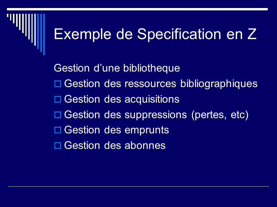 Exemple de Specification en Z