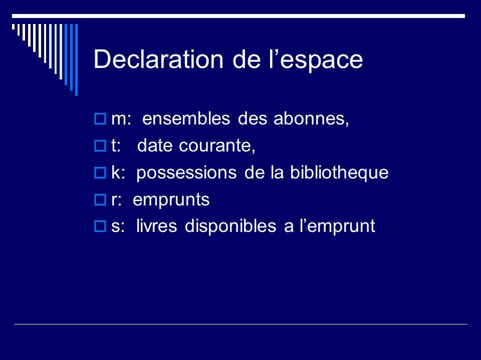 Declaration de l'espace