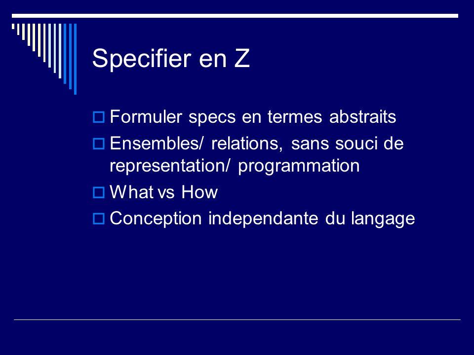 Specifier en Z Formuler specs en termes abstraits
