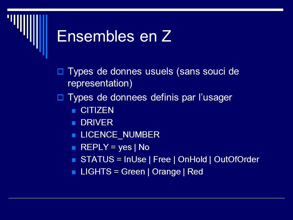 Ensembles en Z Types de donnes usuels (sans souci de representation)