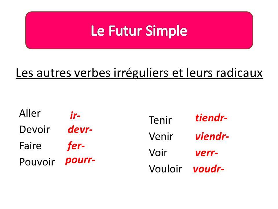Les autres verbes irréguliers et leurs radicaux