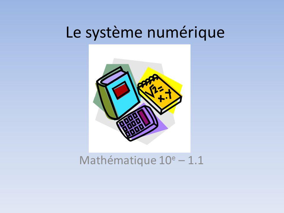 Le système numérique Mathématique 10e – 1.1