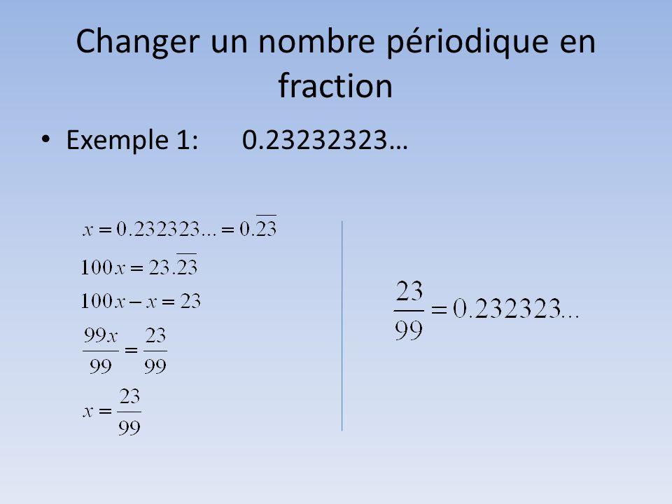 Changer un nombre périodique en fraction