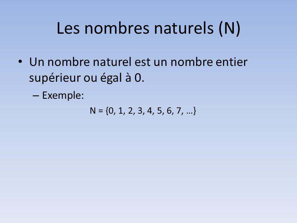 Les nombres naturels (N)
