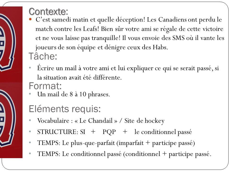 Contexte: Tâche: Format: Eléments requis: