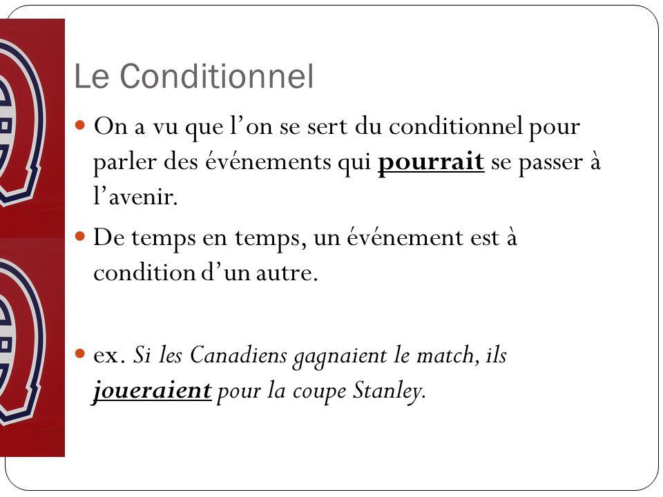 Le Conditionnel On a vu que l'on se sert du conditionnel pour parler des événements qui pourrait se passer à l'avenir.