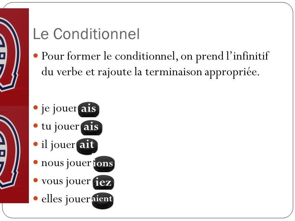 Le Conditionnel Pour former le conditionnel, on prend l'infinitif du verbe et rajoute la terminaison appropriée.