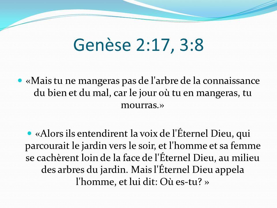 Genèse 2:17, 3:8 «Mais tu ne mangeras pas de l arbre de la connaissance du bien et du mal, car le jour où tu en mangeras, tu mourras.»