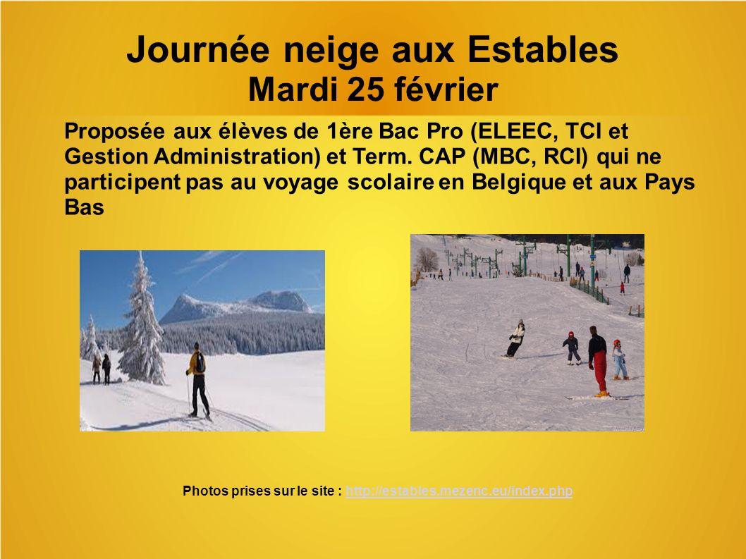 Journée neige aux Estables Mardi 25 février
