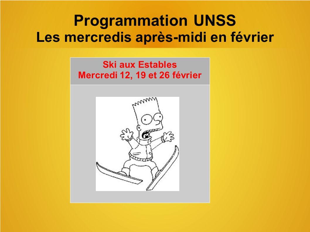 Programmation UNSS Les mercredis après-midi en février
