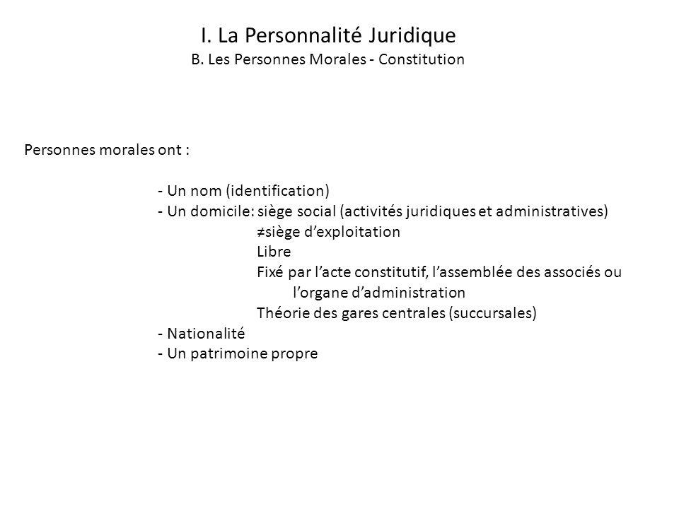 I. La Personnalité Juridique B. Les Personnes Morales - Constitution