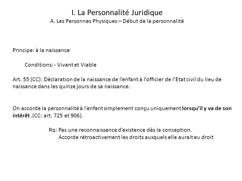 I. La Personnalité Juridique A