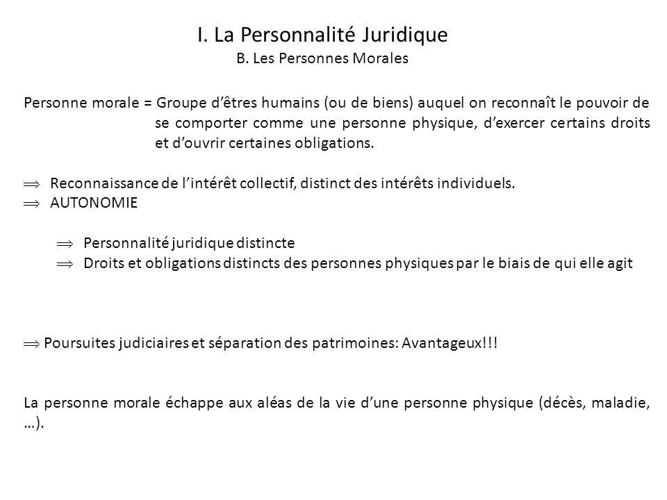 I. La Personnalité Juridique B. Les Personnes Morales