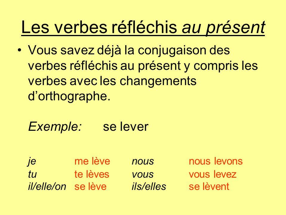 Les verbes réfléchis au présent