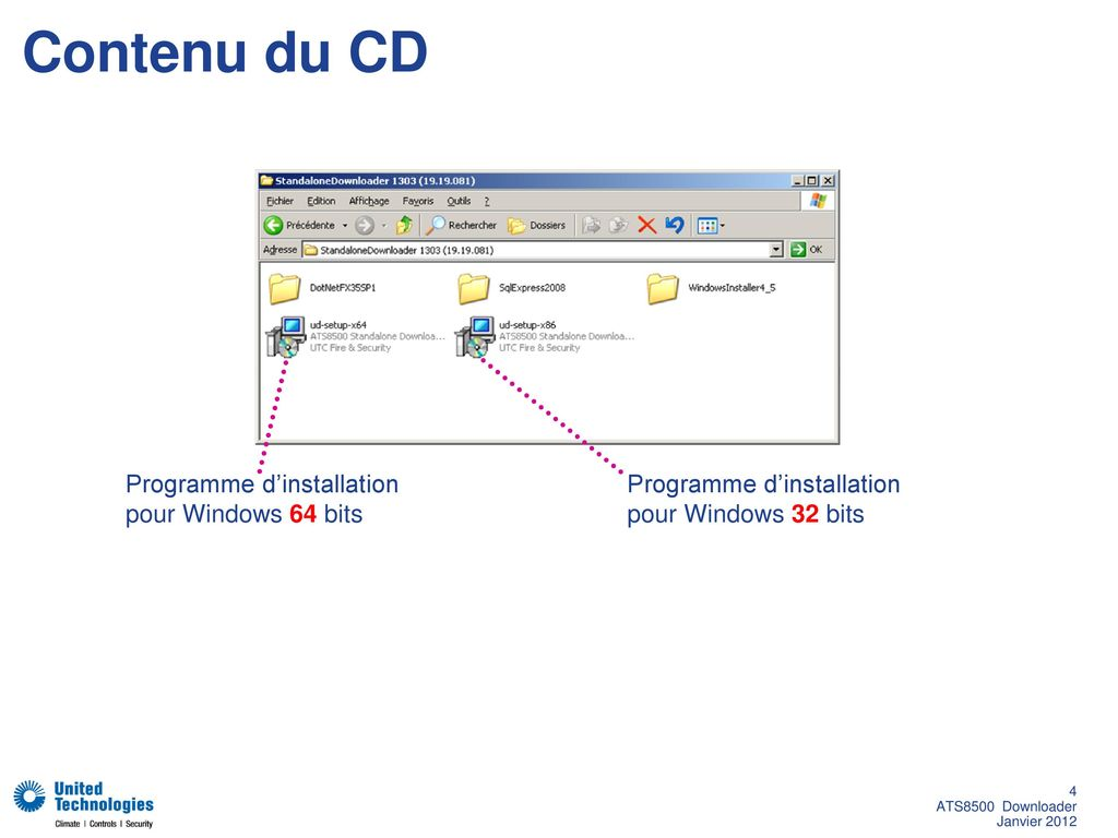 Contenu du CD Programme d'installation pour Windows 64 bits