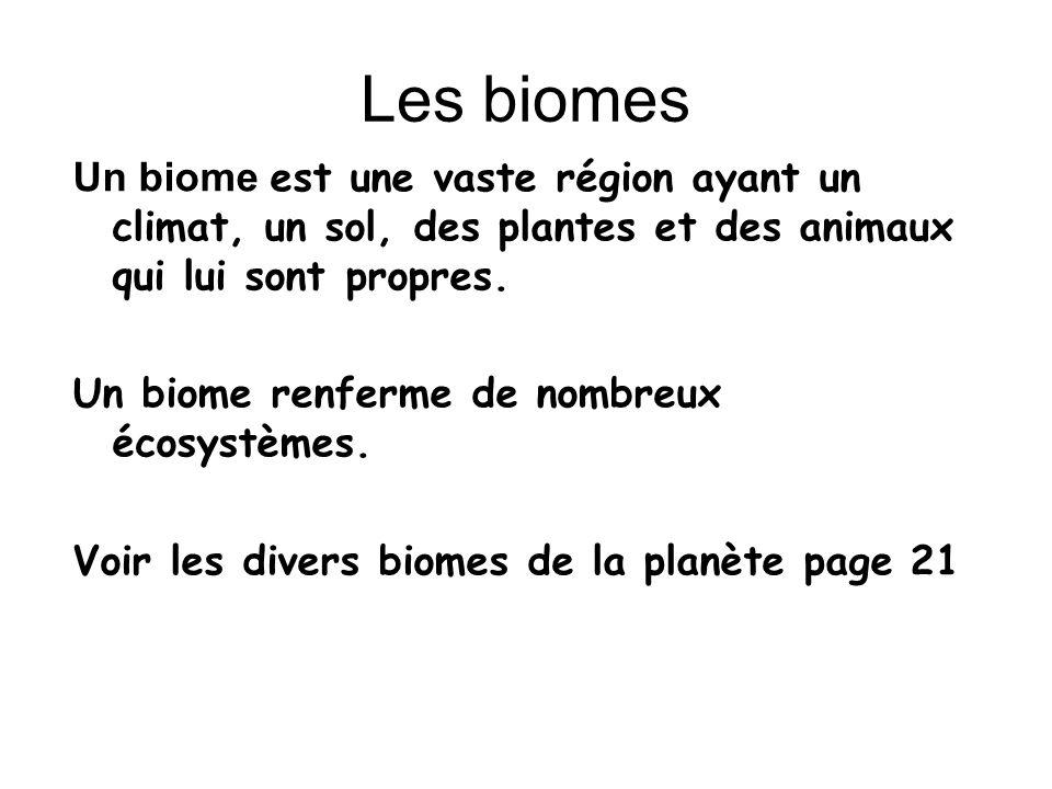 Les biomes Un biome est une vaste région ayant un climat, un sol, des plantes et des animaux qui lui sont propres.