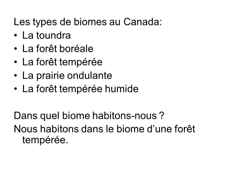 Les types de biomes au Canada:
