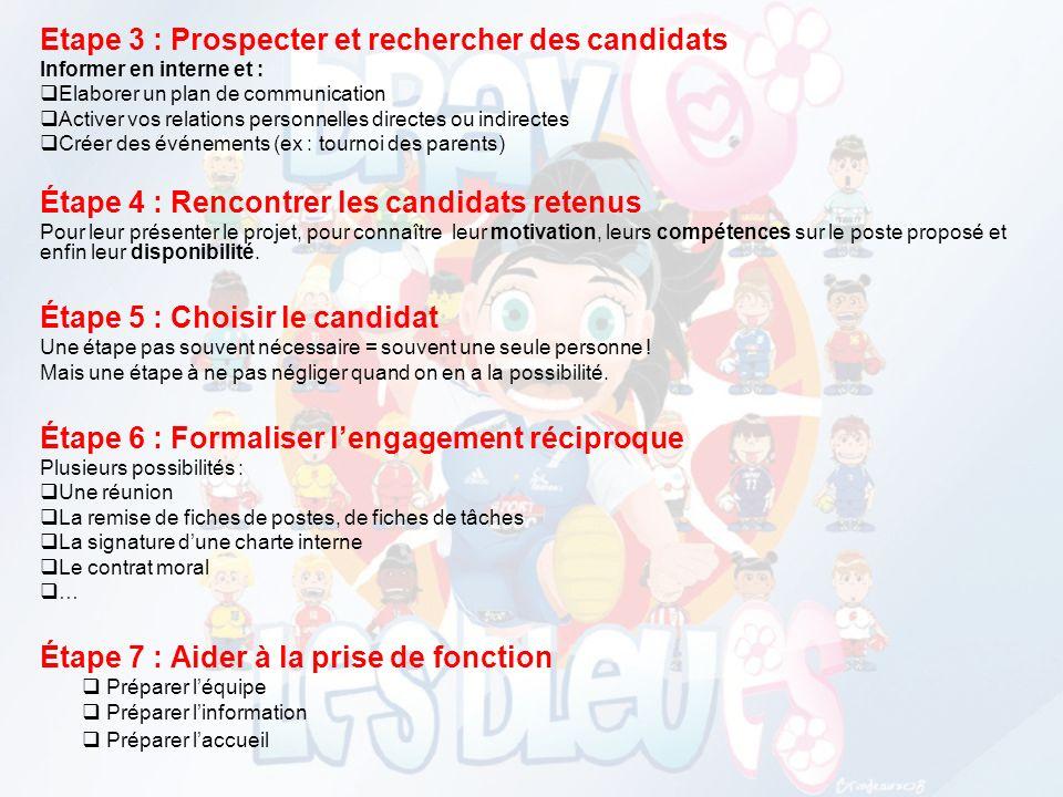 Etape 3 : Prospecter et rechercher des candidats