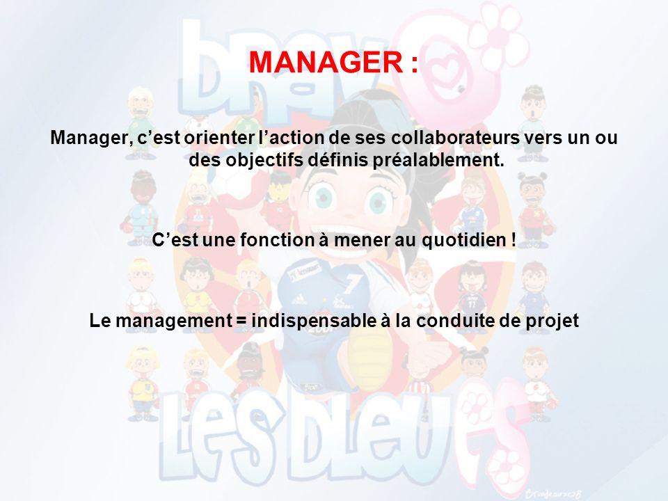 MANAGER : Manager, c'est orienter l'action de ses collaborateurs vers un ou des objectifs définis préalablement.