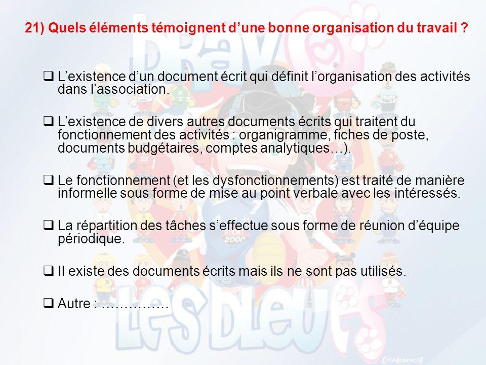 21) Quels éléments témoignent d'une bonne organisation du travail
