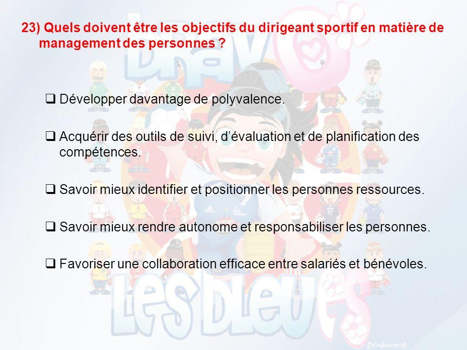23) Quels doivent être les objectifs du dirigeant sportif en matière de management des personnes