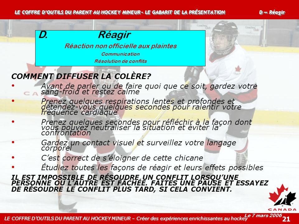 D. Réagir COMMENT DIFFUSER LA COLÈRE