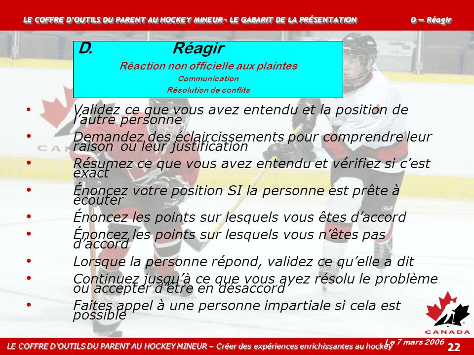 LE COFFRE D'OUTILS DU PARENT AU HOCKEY MINEUR – LE GABARIT DE LA PRÉSENTATION D — Réagir