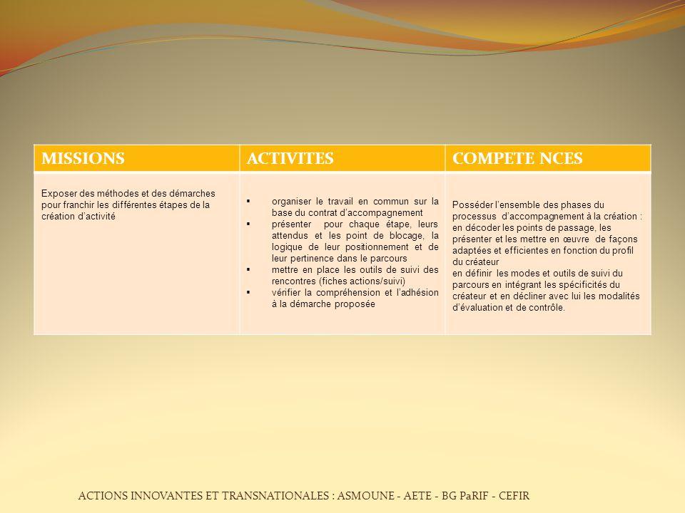 MISSIONS ACTIVITES COMPETE NCES