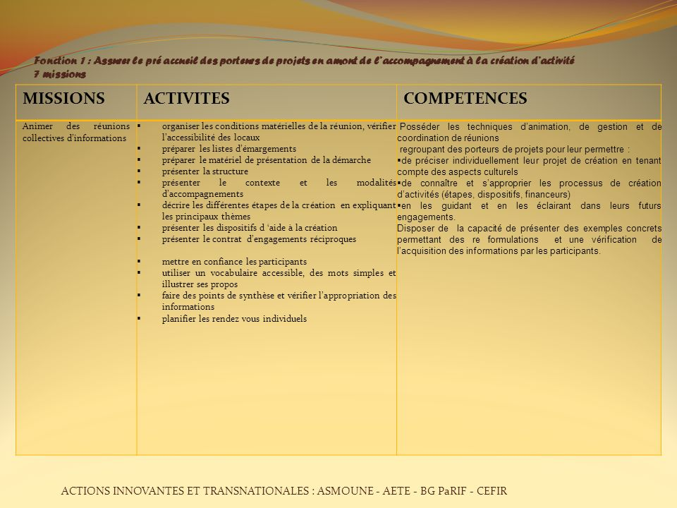 MISSIONS ACTIVITES COMPETENCES