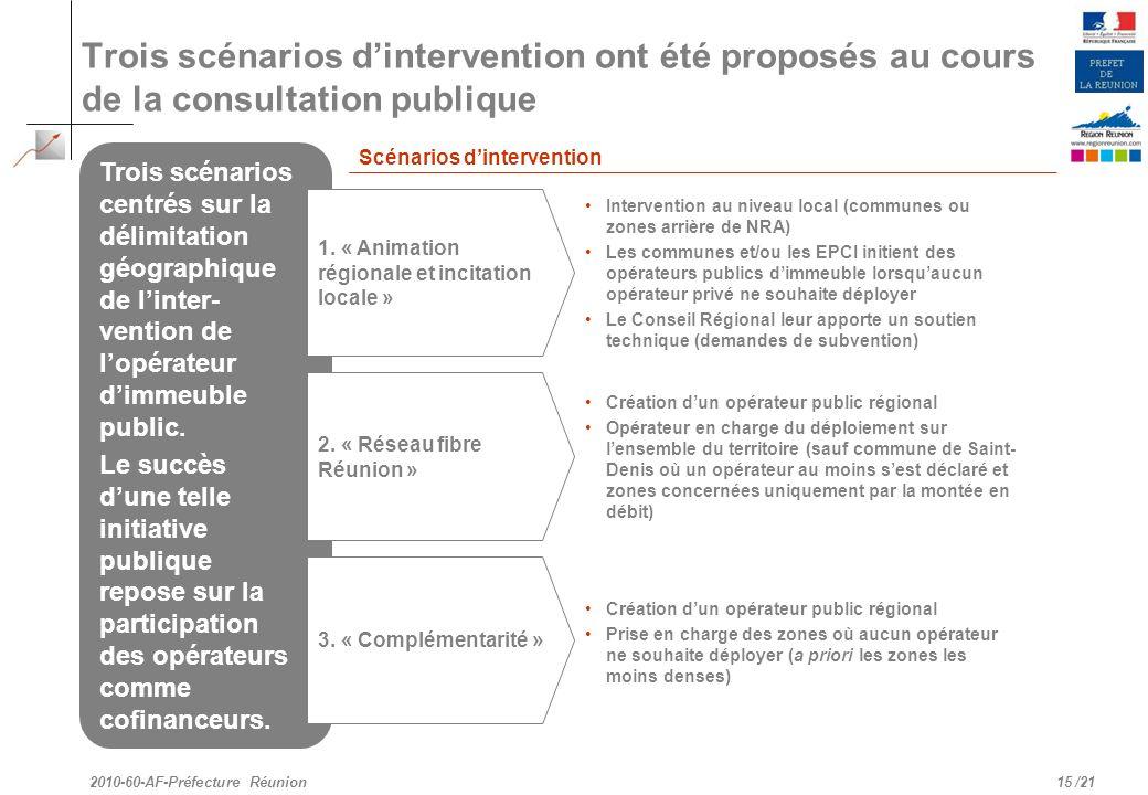 Trois scénarios d'intervention ont été proposés au cours de la consultation publique