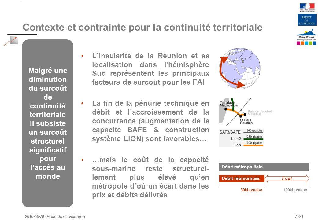 Contexte et contrainte pour la continuité territoriale